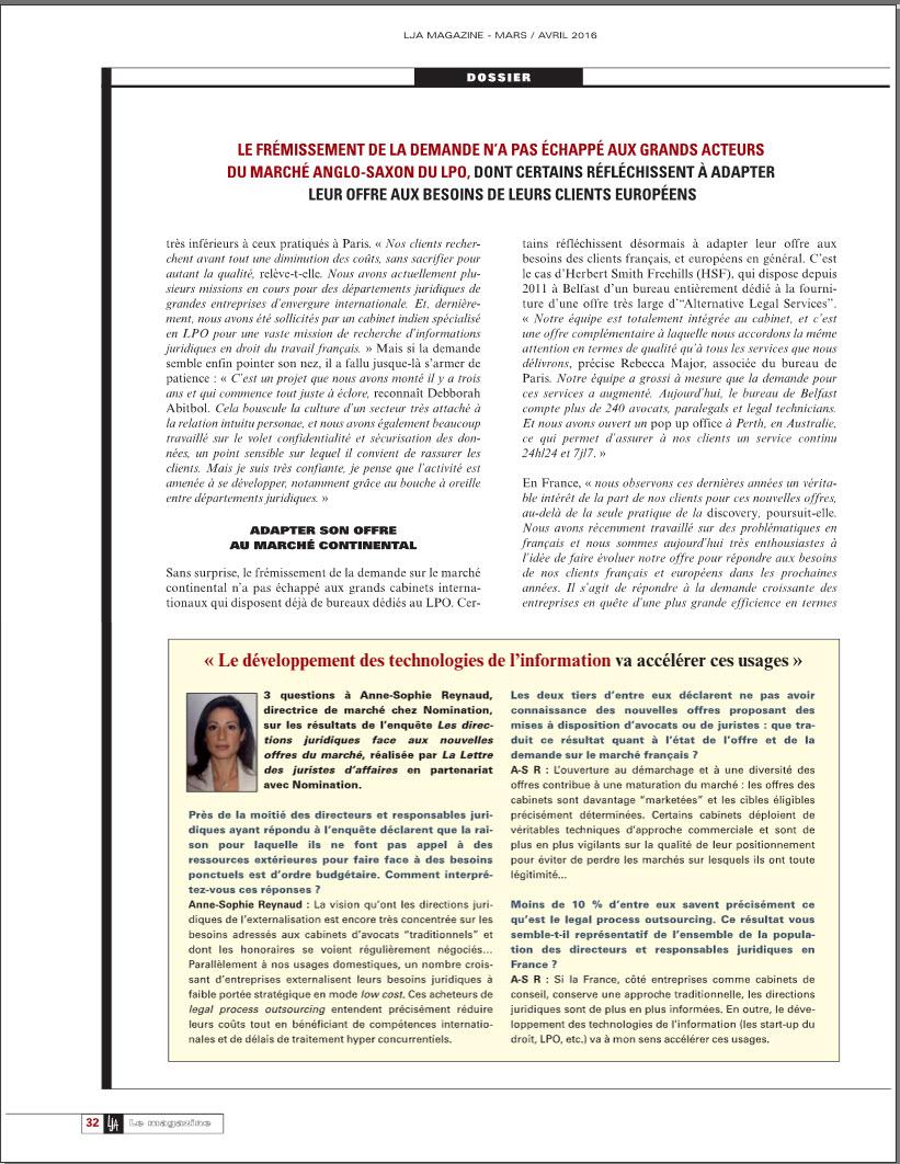 LPO - Abitbol & Associés Article LJA Magazine Mars Avril 2016 P2