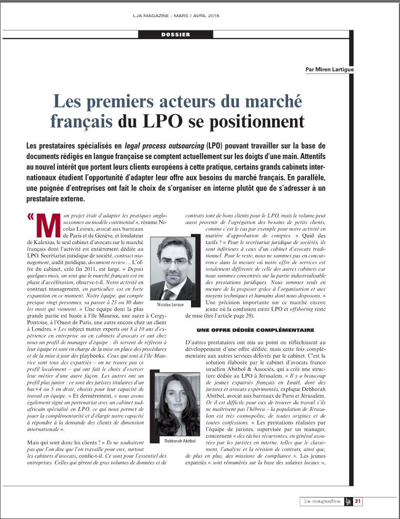 LPO - Abitbol & Associés Article LJA Magazine Mars Avril 2016